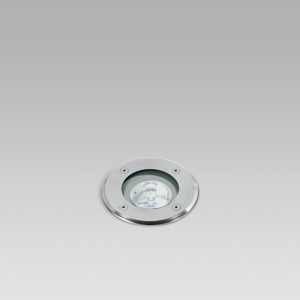 In-ground recessed uplight for outdoor lighting, with round or squared trim, flush with the ground or above the ground