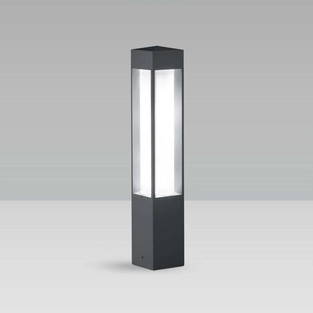 Bollard light for urban and residentail lighting with a squared, elegant design, featuring excellent lighting performance