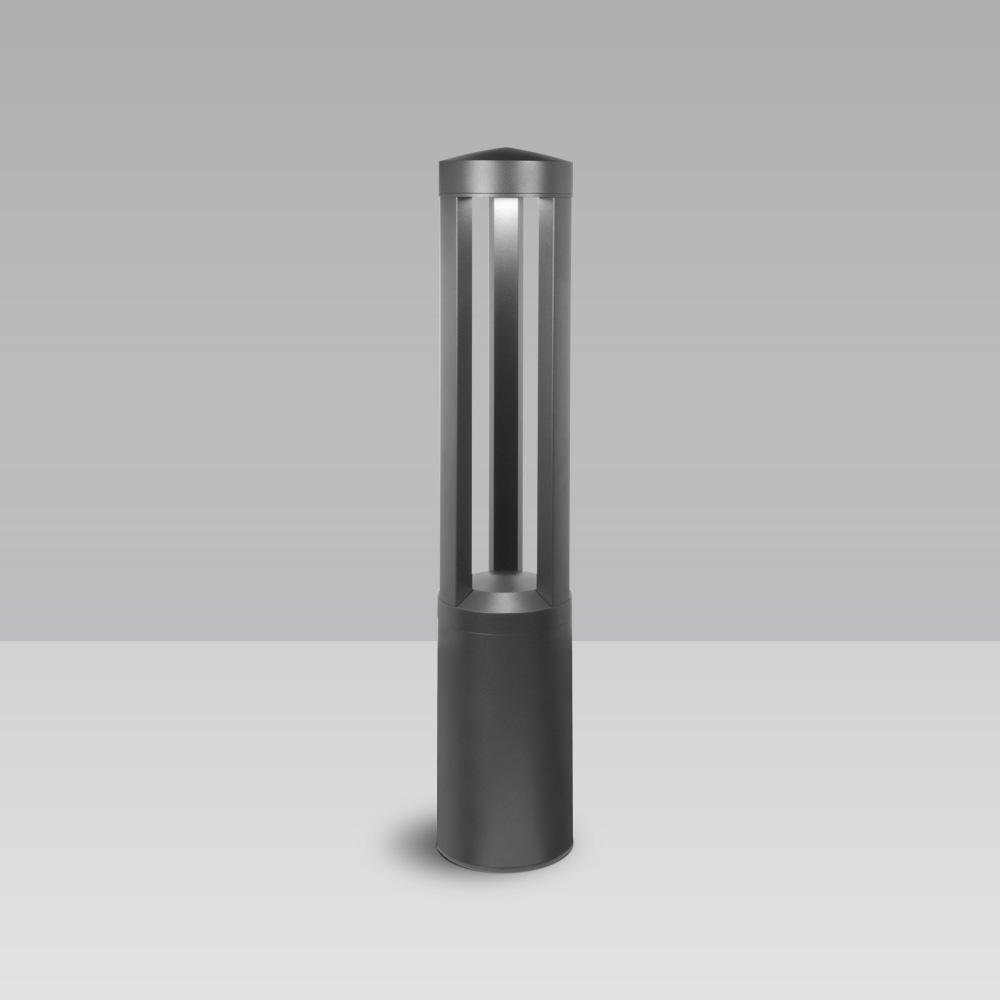 Bollard light for garden and urban areas lighting, with 3 LED sources with radial optic and industrial design
