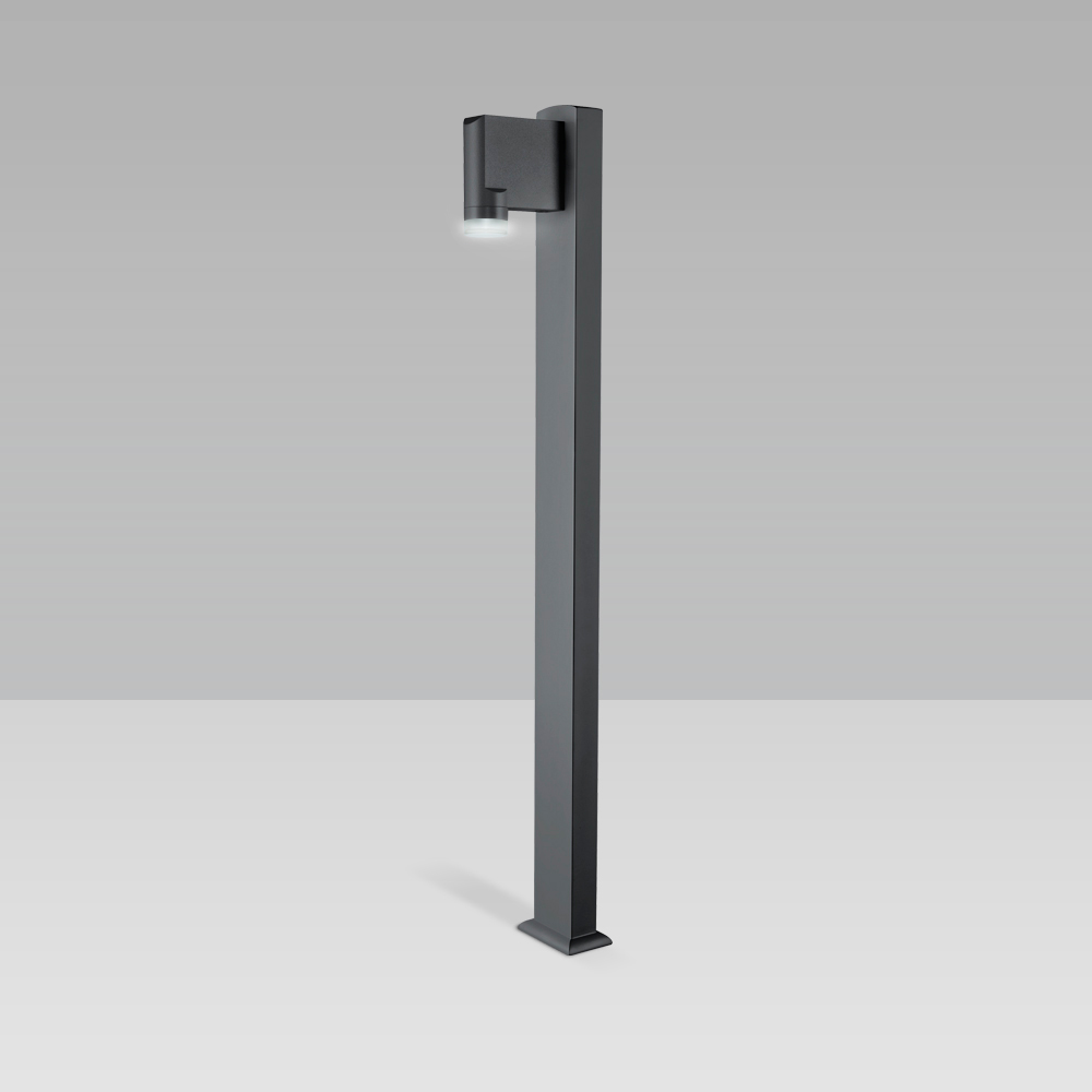 Bollard light featuring a unique design for garden and pedestrian areas lighting with radial optic