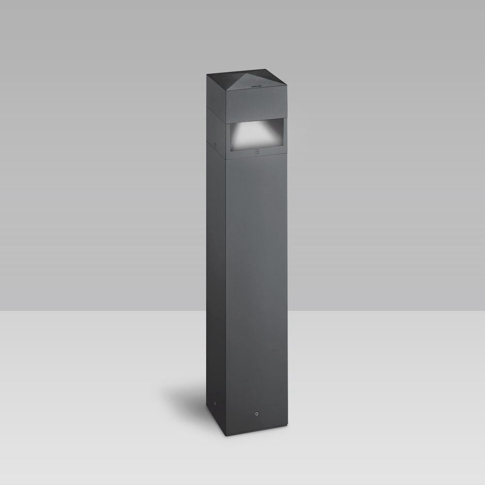 Bollard light with an elegant geometrical design for the illumination of gardens, parks, pedestrian and urban areas